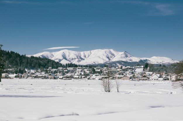 冬の雪に覆われた村
