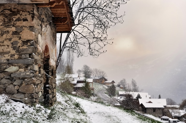 Snow fall on a village