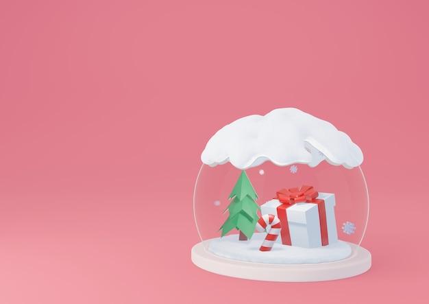 ギフトボックスとキャンディケインが入ったスノードーム。明けましておめでとうとメリークリスマスバナーの背景3dレンダリング。