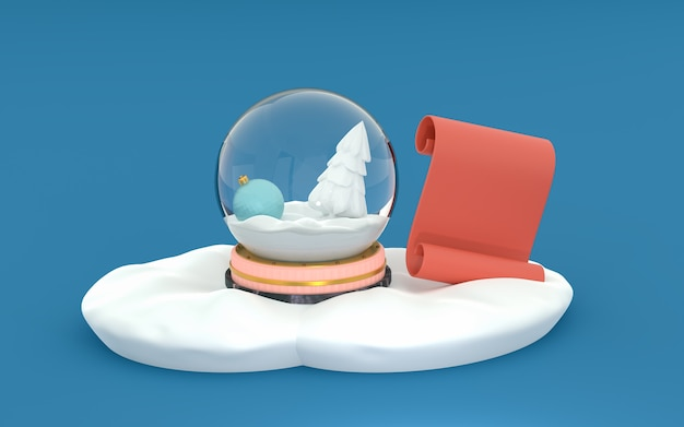 Snow globe with a new year's toy and a white spruce in the snow isolated on a blue background. red scroll for text. 3d render. template for layout, greeting card