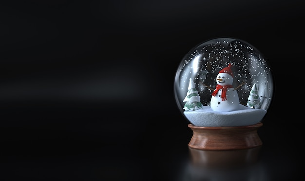 Snow globe with a snowman , snowman and green trees