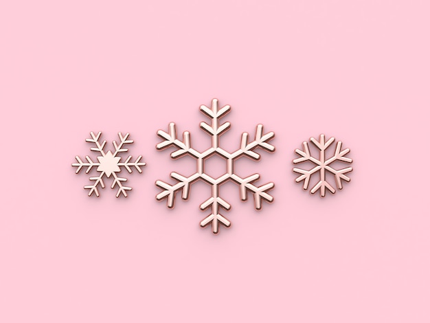 Snow icon flat metallic glossy pink gold 3d render christmas holiday new year concept