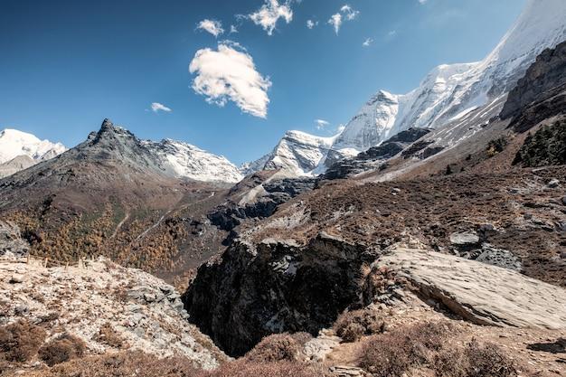 Snow mountain range in rocky valley