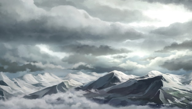 Snow mountain and sky illustration.