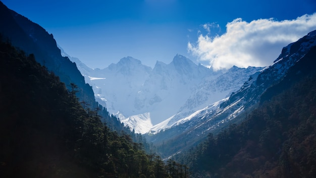 Snow mountain with blue sky at sikkim , india