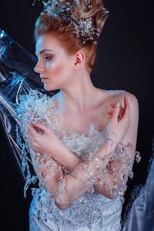 青い氷の上の雪の女王ハイファッションの肖像画
