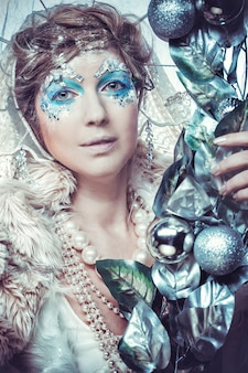 Snow queen with fantasy make up