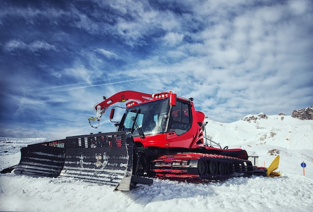 Snow removal equipment on the hillside