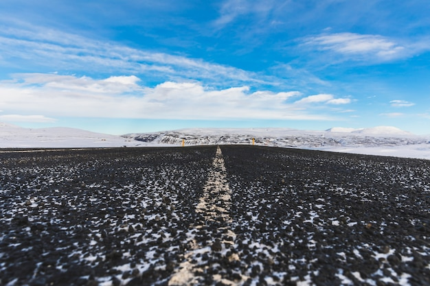 Snow on the road in iceland in winter