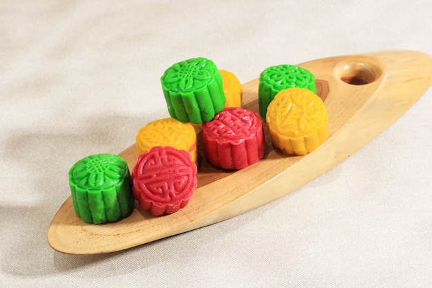 Snow skin moon cake colourfull chinese traditional cake made from sticky rice flour  and stuffed with various paste inside