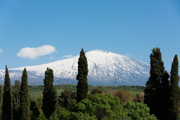 Snow on volcano etna