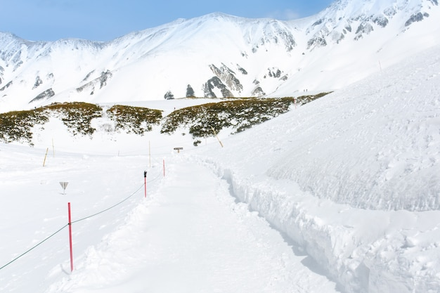 Snow walking path in to the snow mountain for ski player