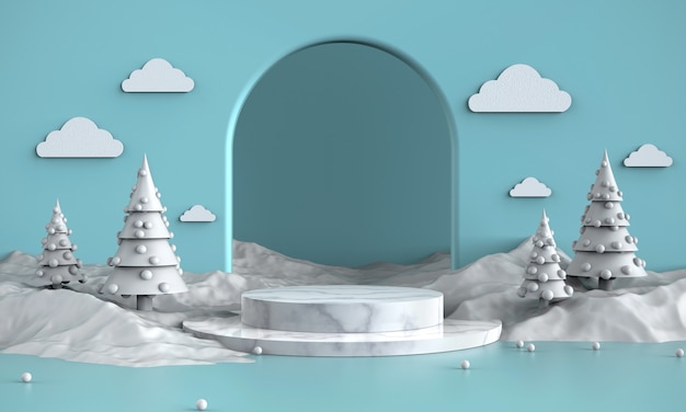 Snow white theme product show, promotion, banners background, present, 3d illustration.