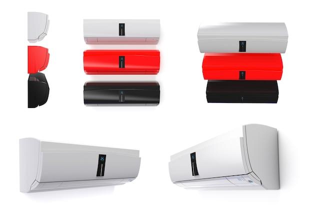 Белоснежный кондиционер с сенсорным экраном, изолированный на белой стене, набор 3d-рендеринга