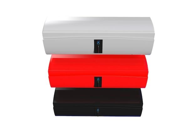 Белоснежный кондиционер с сенсорным экраном, изолированные на белой стене 3d-рендеринга