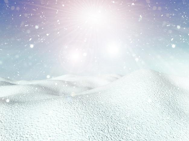 Sfondo invernale 3d con nevicate e paesaggio innevato