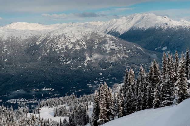 Snowcapped mountain range, whistler, british columbia, canada
