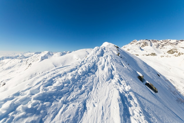 Snowcapped mountain summit