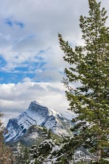 雪に覆われたマウントランドルと雪に覆われた森のバンフ国立公園カナディアンロッキーアルバータカナダ