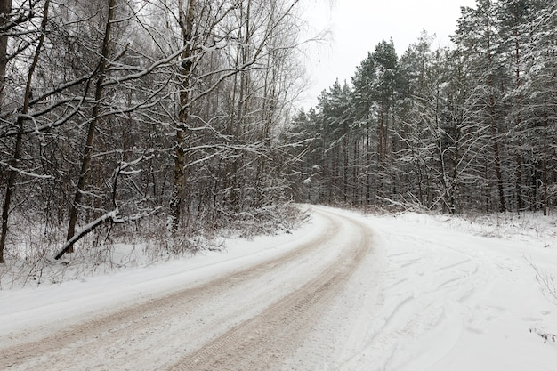Snowcovered road in the winter