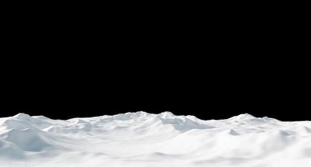 黒に分離された雪の吹きだまり