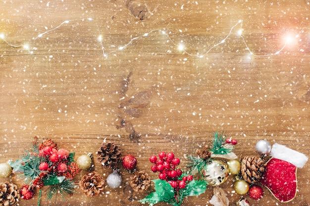 Snowed lights and christmas ornaments