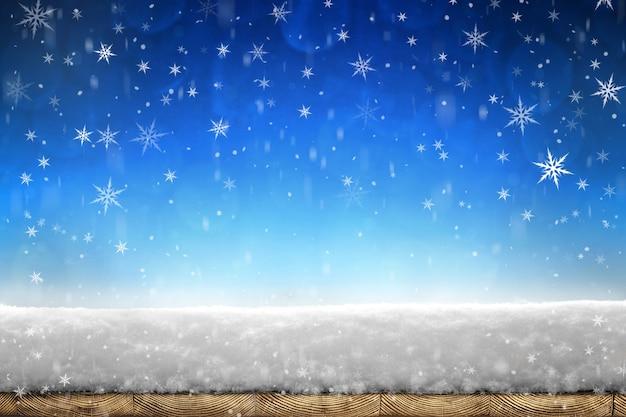 木の板の降雪