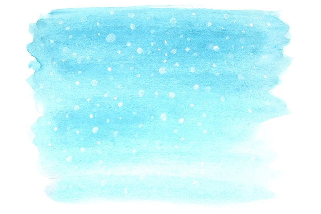 Снегопад - зимний акварельный фон со снегом