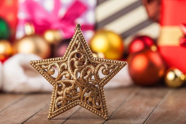 Snowflake and christmas gifts.