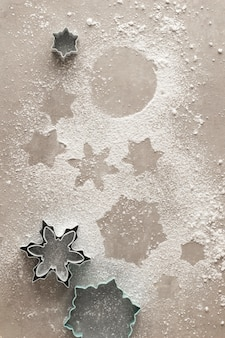 Snowflake cookies shadow with powdered sugar