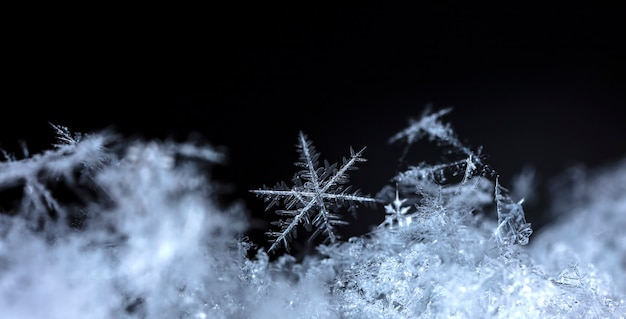 自然な雪の吹きだまりの雪の結晶は、クリスマスと冬の背景をクローズアップ