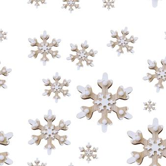 スノーフレークパターン白い背景のシームレスなクリスマスパターン冬の装飾新年の背景