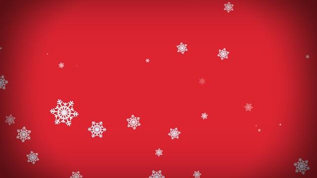 빨간색 배경에 떨어지는 눈송이. 크리스마스, 휴일, 겨울, 새해, 눈송이, 축제 배경 3d 렌더링