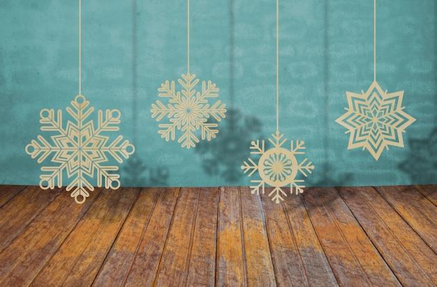 Снежинки висит от строк