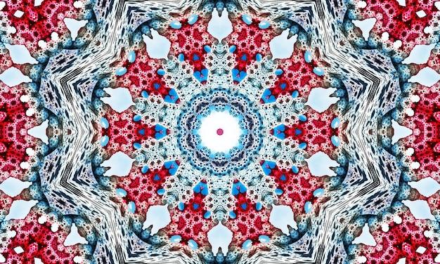 푸른 하늘 배경에 눈송이, 눈송이와 크리스마스 뜨개질 완벽 한 패턴. 니트 빨간 스웨터 디자인. 전통적인 니트 장식 패턴