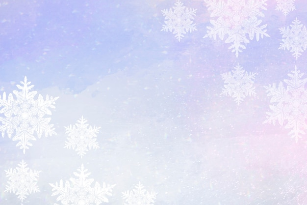 Fiocchi di neve su sfondo viola bordo invernale
