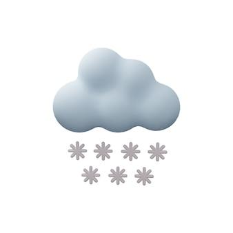 눈이 구름 3d 그림 흰색 배경에 고립입니다. 눈이 구름의 3d 그림