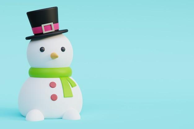 Снеговик 3d с черной шляпой, шарфом и морковью 3d визуализация иллюстрации