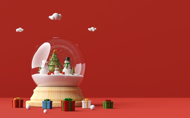Snowman celebrate christmas day in a snow globe and christmas gifts on a red background, 3d rendering