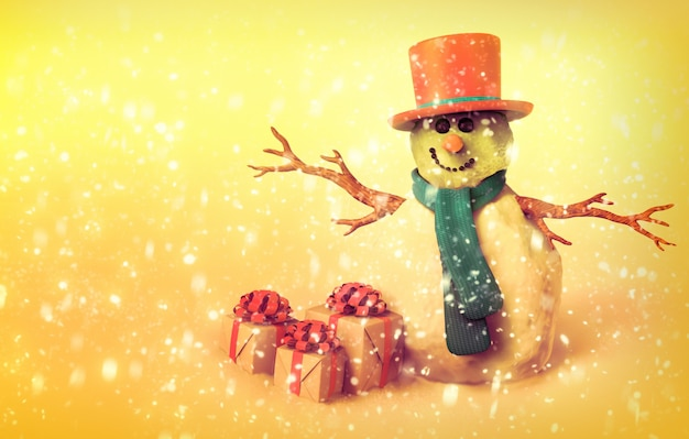 Snowman and christmas gifts, vintage style