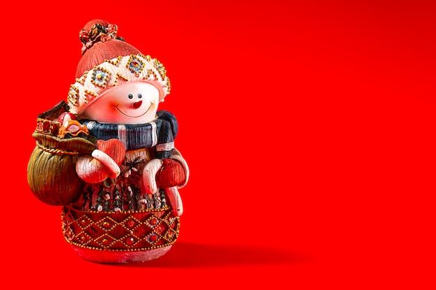雪だるま、クリスマスのおもちゃ、新年あけましておめでとうございます
