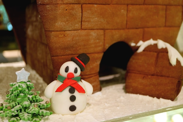 Snowman and christmas tree with blurry gingerbread house in the backdrop