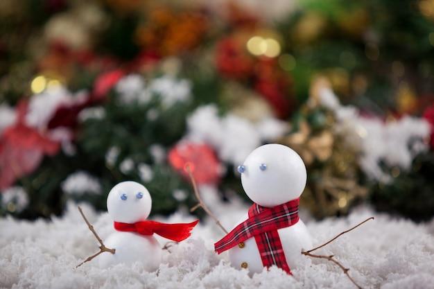 Snowman on fake snow