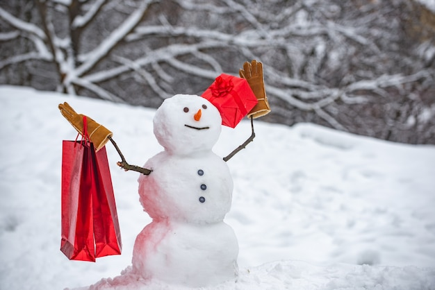 Snowman gentleman in winter hat. snowman and snow day. snowman with a bag of gifts