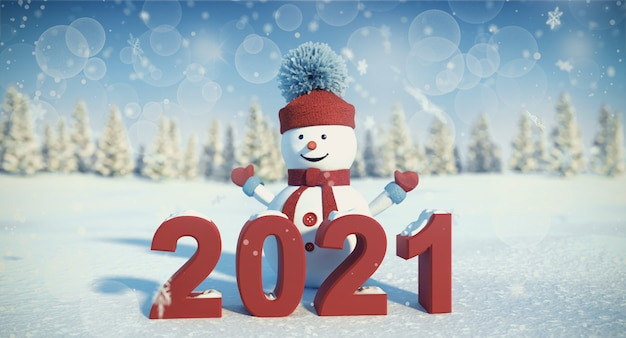Snowman greeting new year 2021 winter