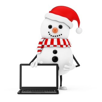 흰색 바탕에 디자인을 위한 빈 화면이 있는 산타클로스 모자 캐릭터 마스코트와 현대 노트북 노트북 컴퓨터의 눈사람. 3d 렌더링