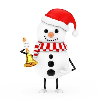 Снеговик в талисмане характера шляпы санта-клауса с винтажным золотым школьным колоколом на белой предпосылке. 3d рендеринг
