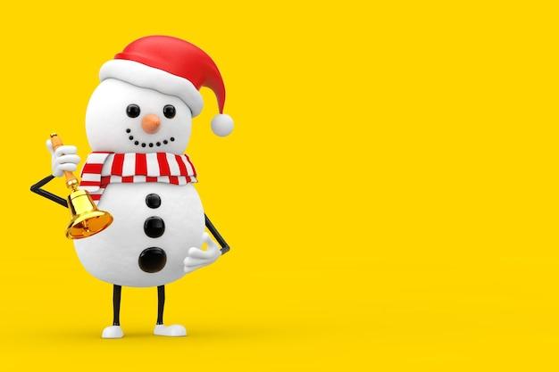 Снеговик в талисмане характера шляпы санта-клауса с винтажным золотым школьным колоколом на желтой предпосылке. 3d рендеринг