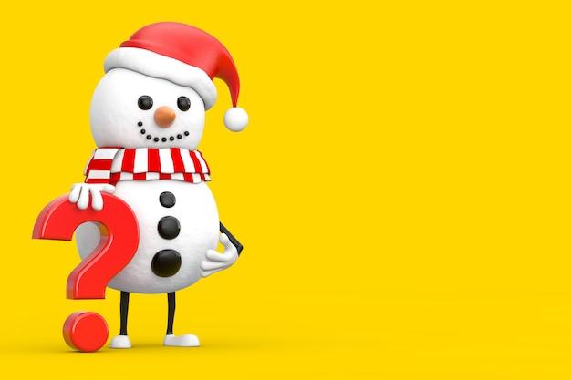 黄色の背景に赤い疑問符のサインとサンタクロース帽子の人のキャラクターマスコットの雪だるま。 3dレンダリング