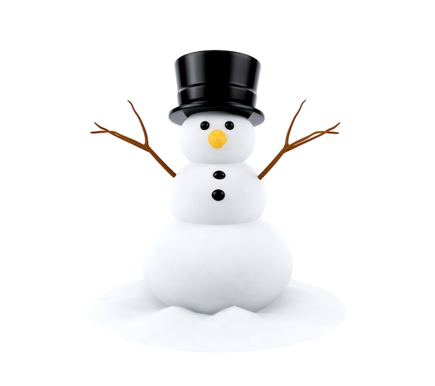 Snowman isolated on white background